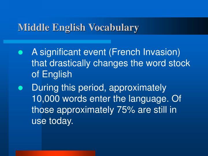 Middle English Vocabulary