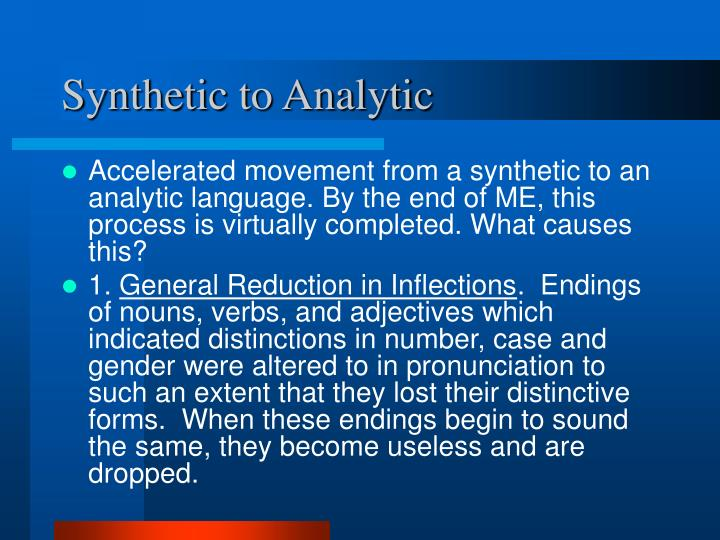 Synthetic to analytic