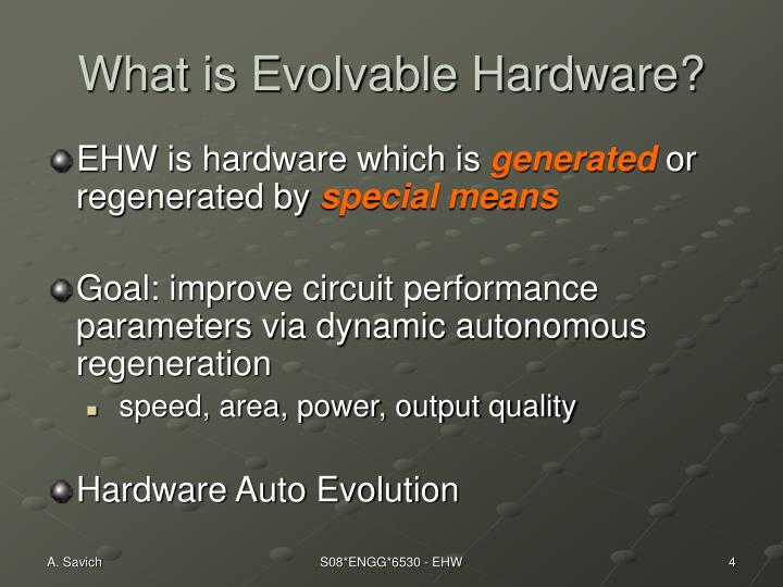 What is Evolvable Hardware?