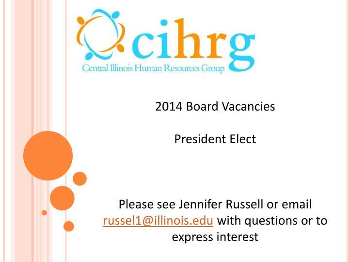 2014 Board Vacancies