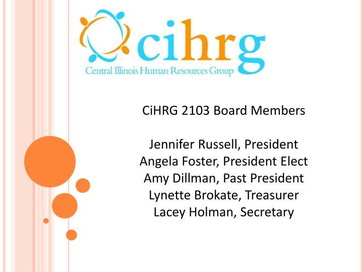 CiHRG 2103 Board Members