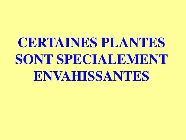 CERTAINES PLANTES SONT SPECIALEMENT ENVAHISSANTES