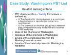 case study washington s pbt list