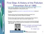 first step a history of the pollution prevention act of 1990