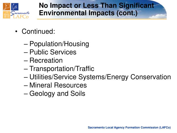 No Impact or Less Than Significant