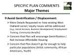 specific plan comments major themes