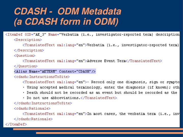 CDASH -  ODM Metadata