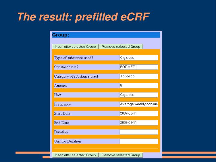 The result: prefilled eCRF
