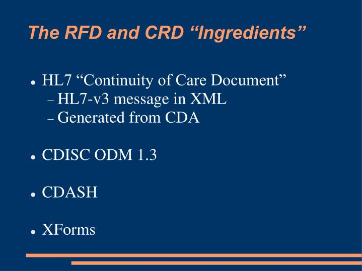 """The RFD and CRD """"Ingredients"""""""