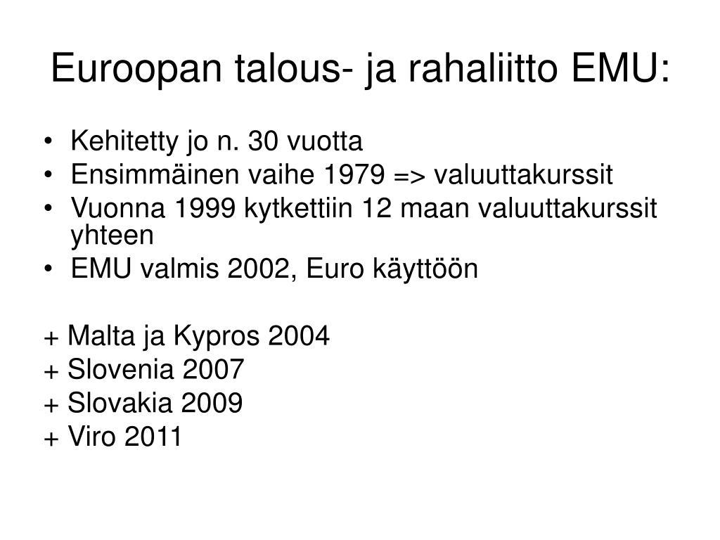 Euroopan Talous Ja Rahaliitto