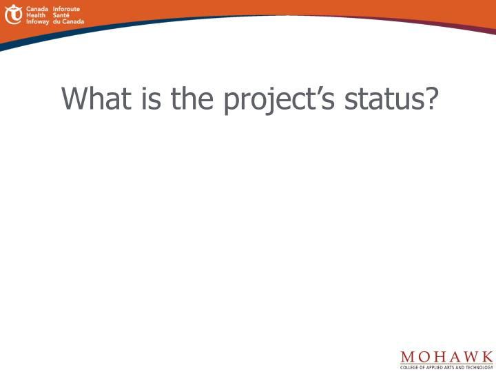 What is the project's status?