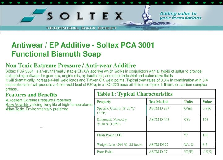 Antiwear / EP Additive - Soltex PCA 3001