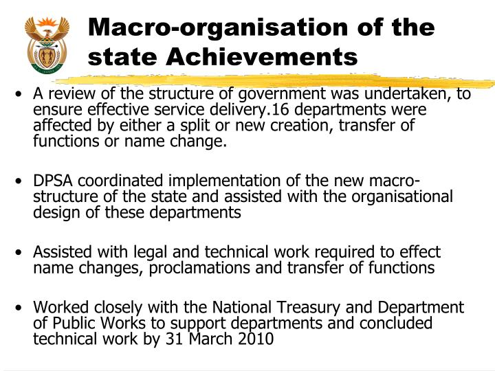 Macro-organisation of the state Achievements