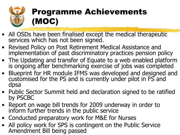 Programme Achievements (MOC)