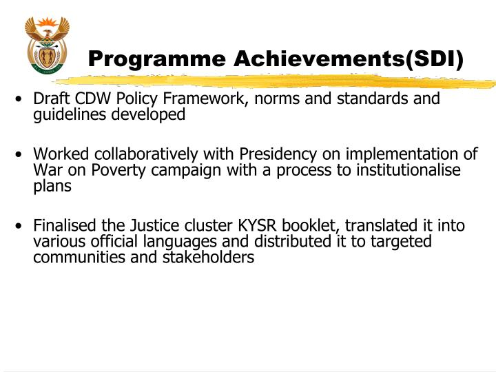 Programme Achievements(SDI)