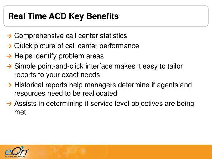 Real Time ACD Key Benefits
