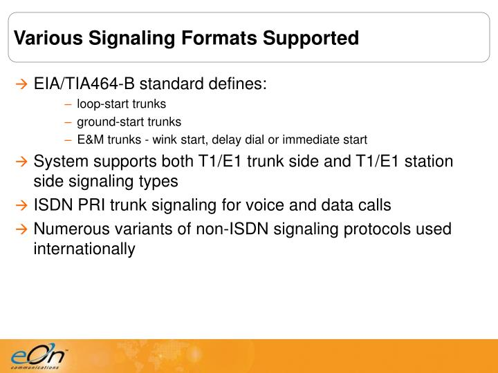 Various Signaling Formats Supported
