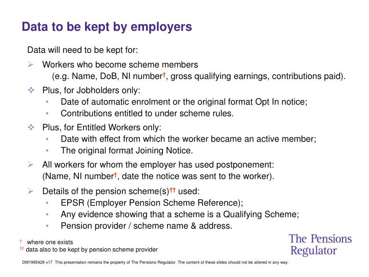 Data to be kept by employers