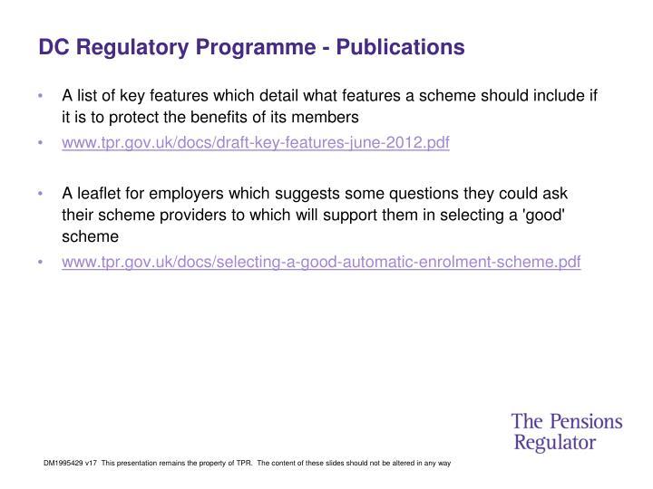 DC Regulatory Programme - Publications