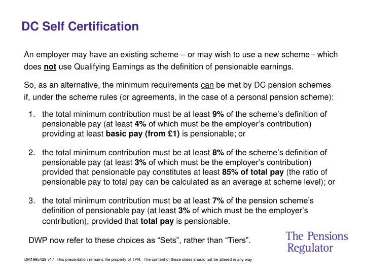 DC Self Certification
