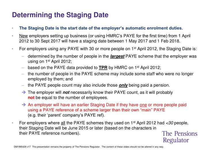 Determining the Staging Date