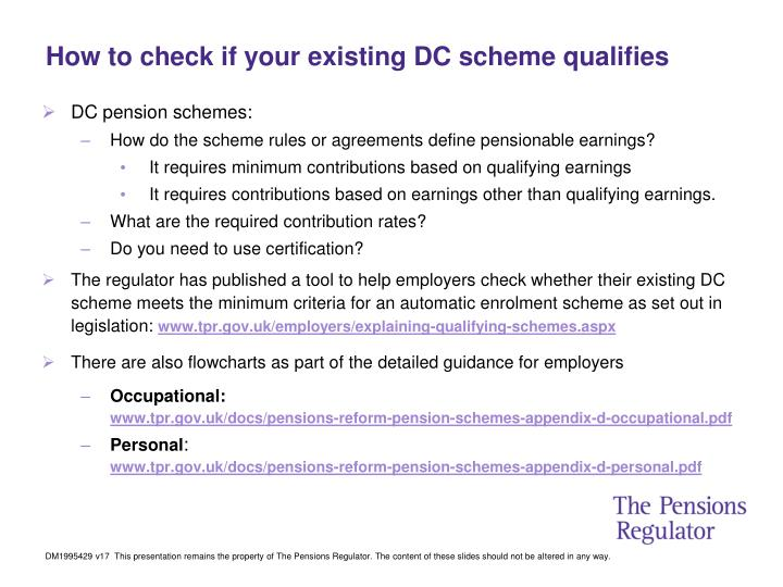 How to check if your existing DC scheme qualifies