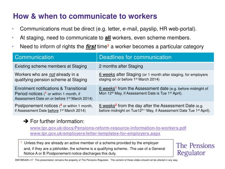 How & when to communicate to workers