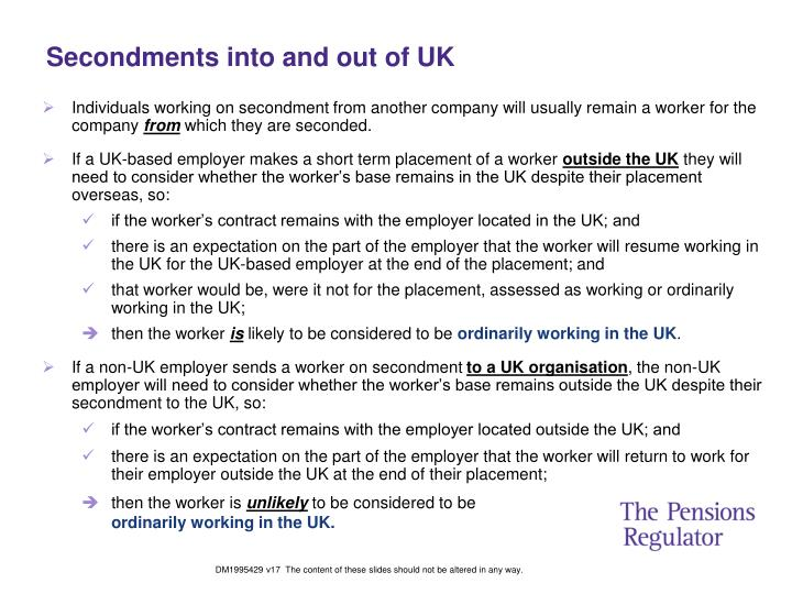 Secondments into and out of UK