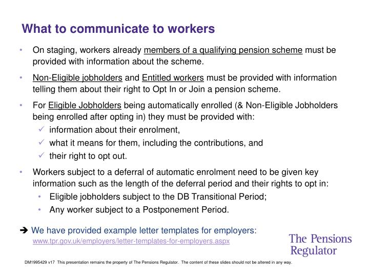 What to communicate to workers