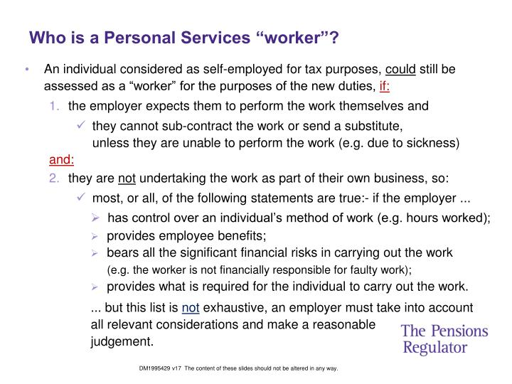 """Who is a Personal Services """"worker""""?"""