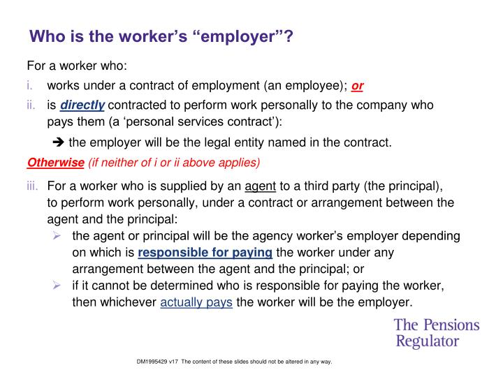 """Who is the worker's """"employer""""?"""
