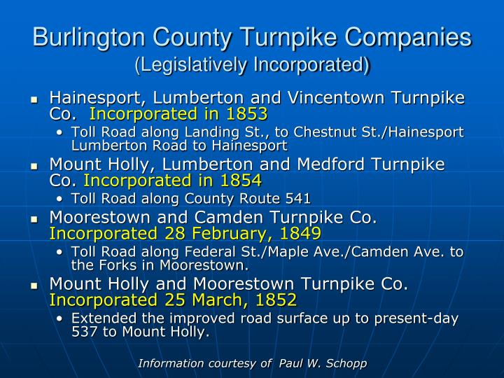 Burlington county turnpike companies legislatively incorporated