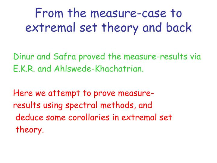 From the measure-case to