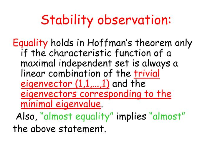 Stability observation: