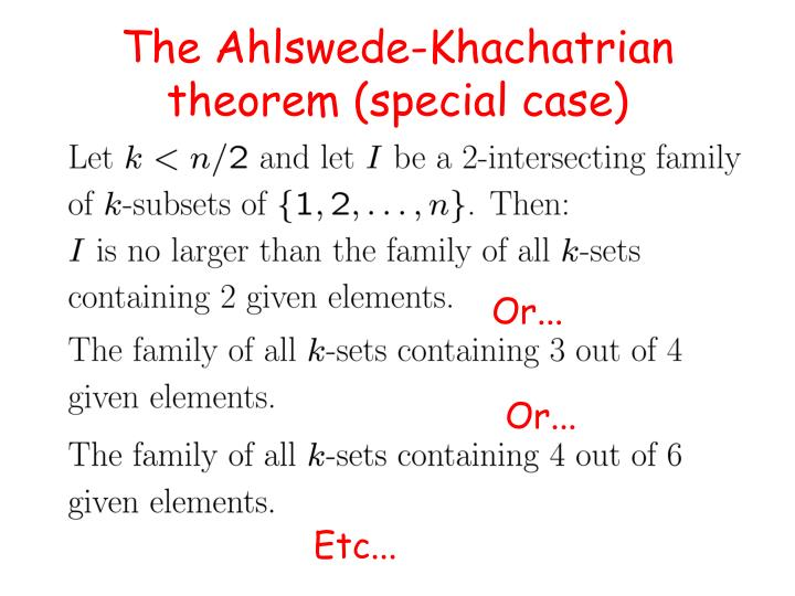 The Ahlswede-Khachatrian
