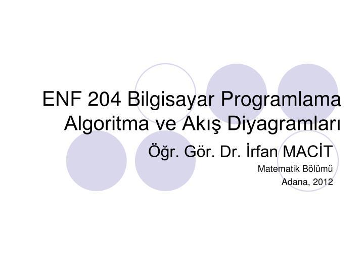 enf 204 bilgisayar programlama algoritma ve ak diyagramlar n.