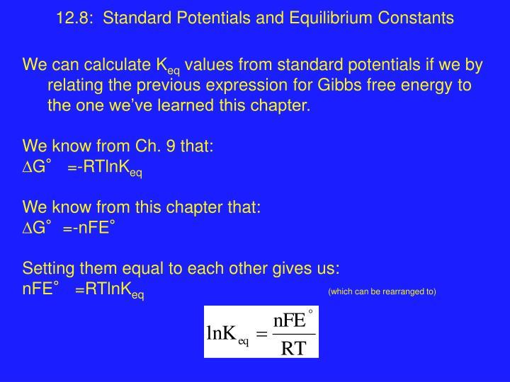 12 8 standard potentials and equilibrium constants n.