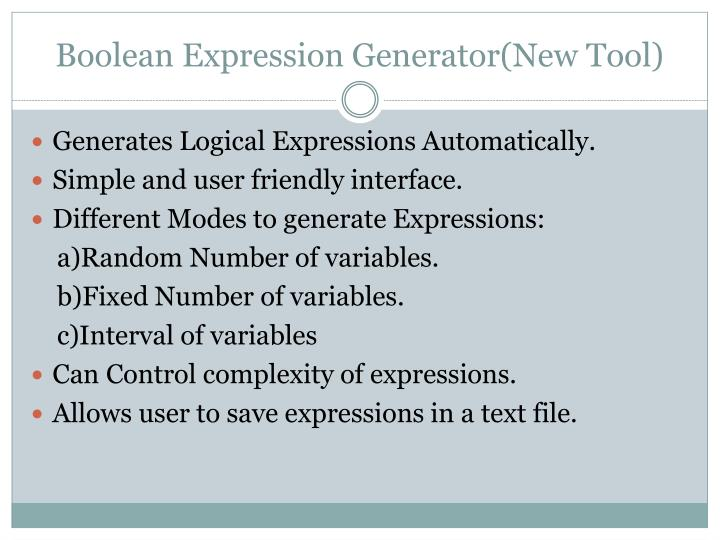 Boolean Expression Generator(New Tool)