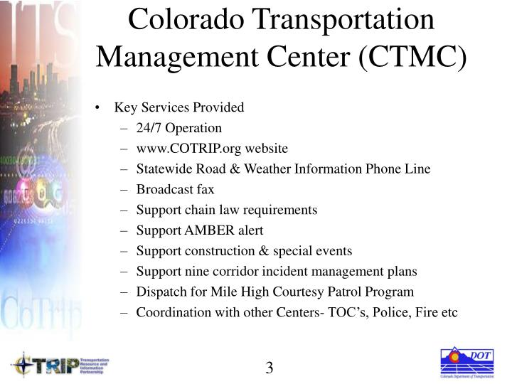 Colorado transportation management center ctmc