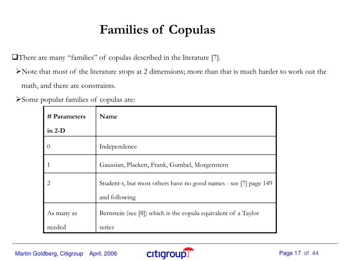 Families of Copulas