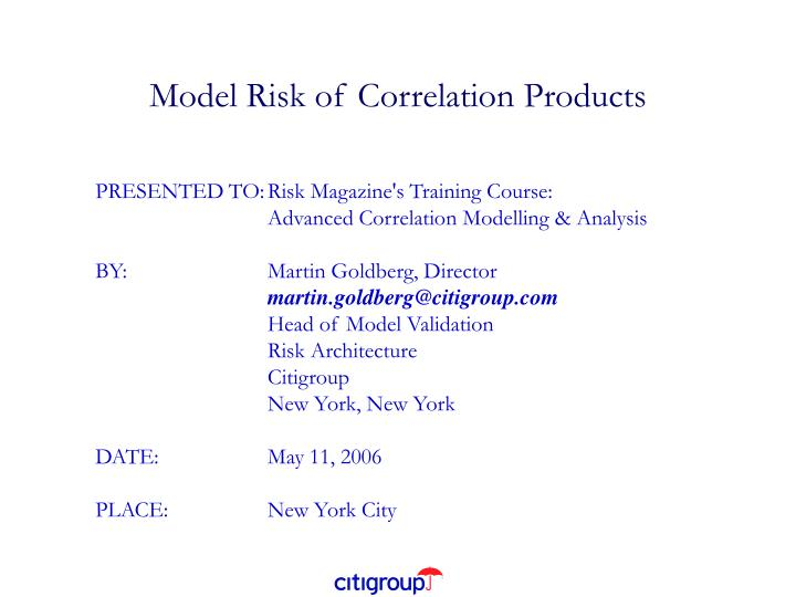 Model risk of correlation products