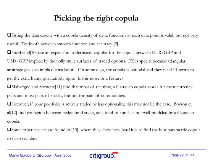 Picking the right copula