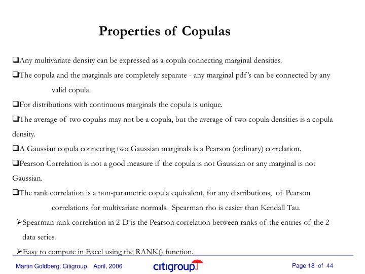 Properties of Copulas