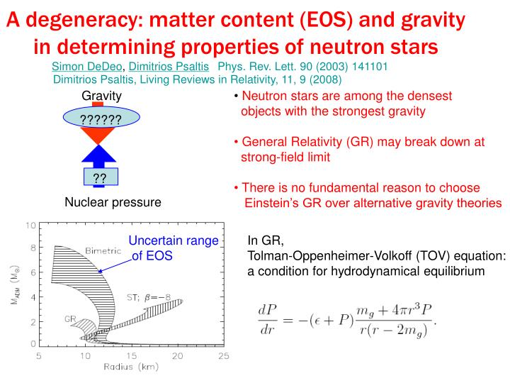 A degeneracy: matter content (EOS) and gravity