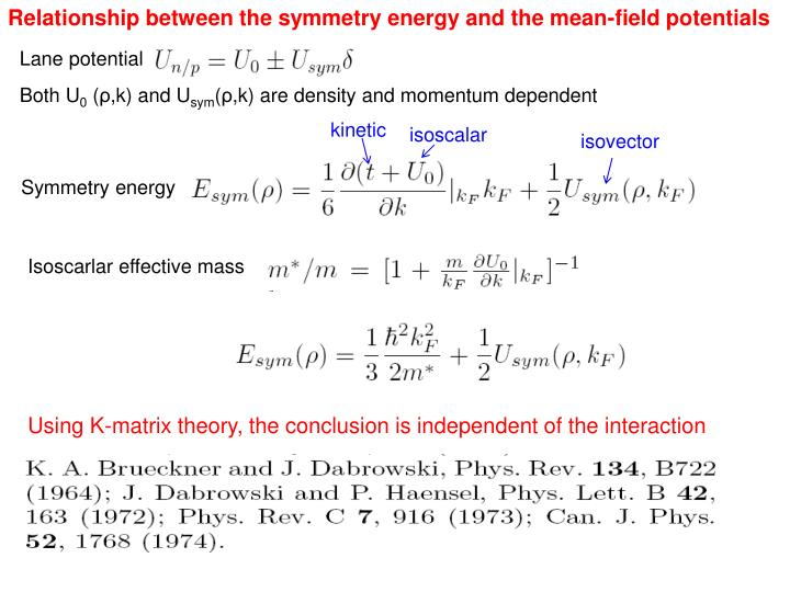 Relationship between the symmetry energy and the mean-field potentials