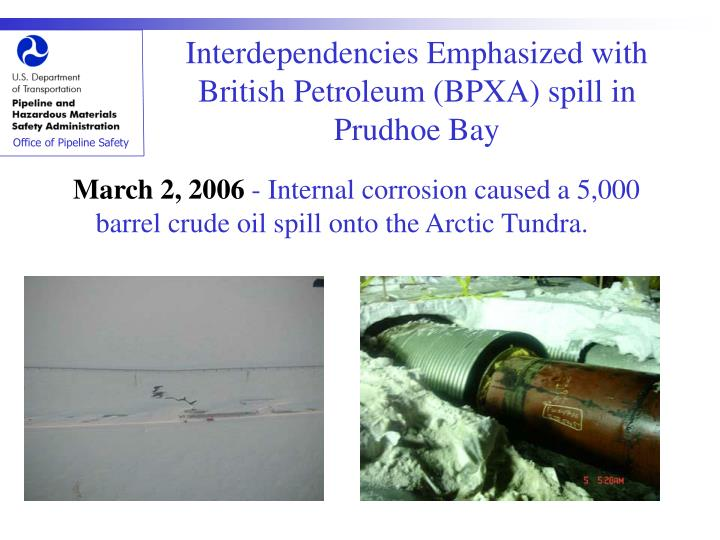 Interdependencies Emphasized with British Petroleum (BPXA) spill in Prudhoe Bay
