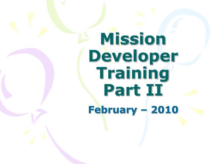 mission developer training part ii n.