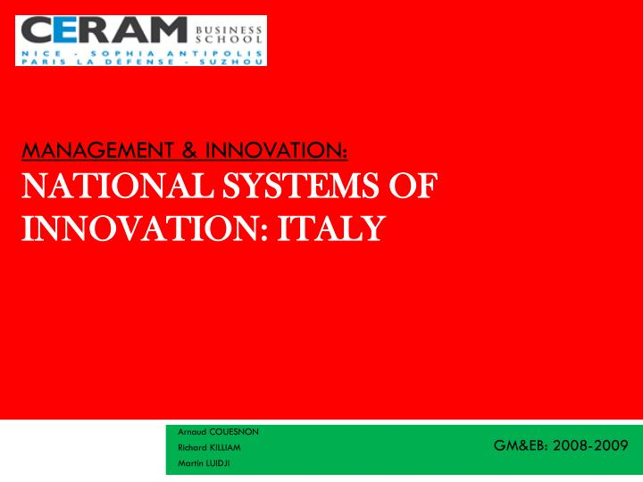 management innovation national systems of innovation italy n.