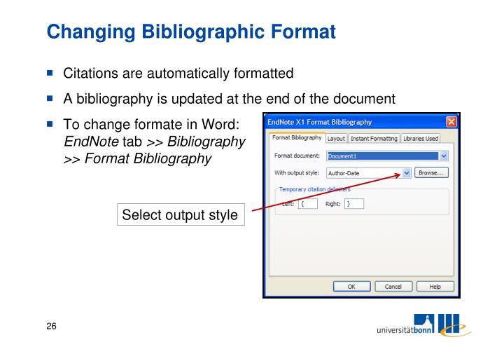 Changing Bibliographic Format