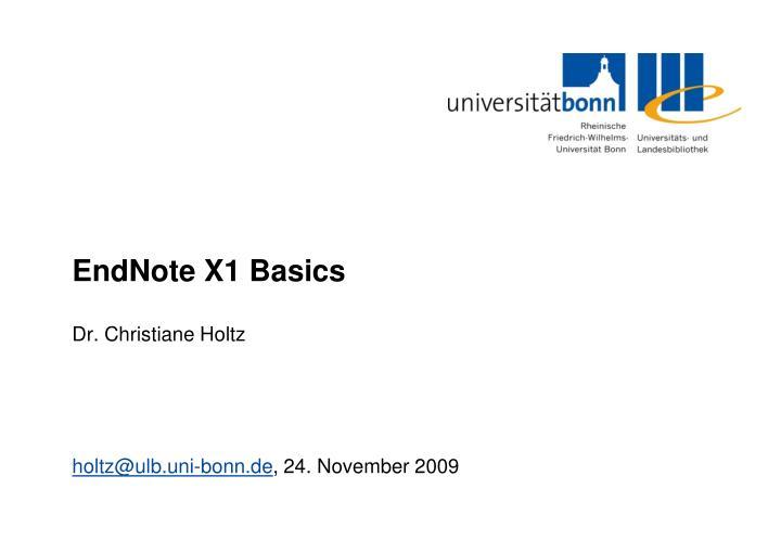 Endnote x1 basics
